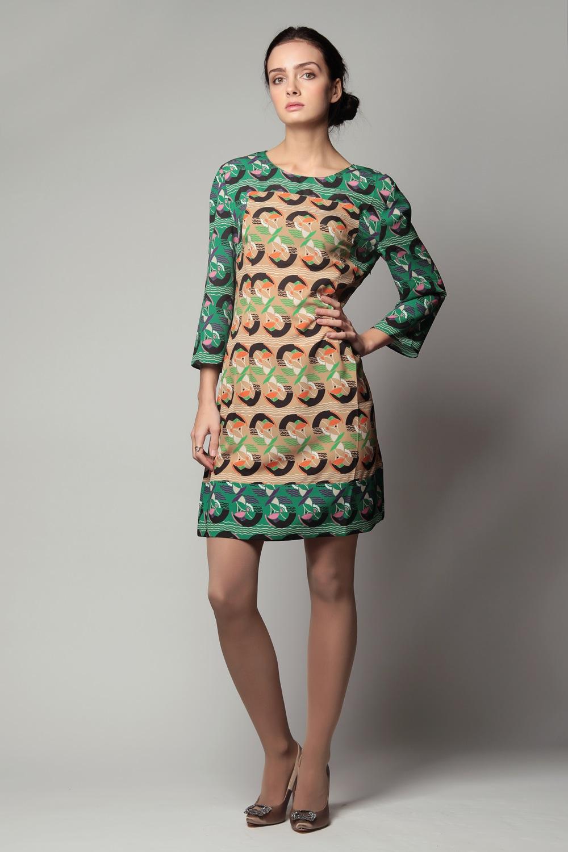 Платье черное с зеленым короткое