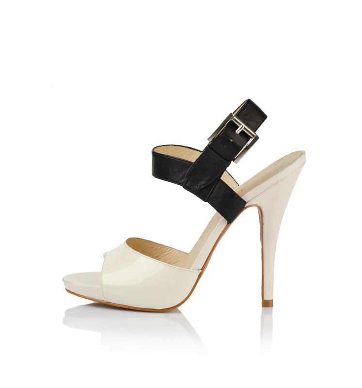 Босоножки белые с черным ремешком, Luxury Rebel вид:3