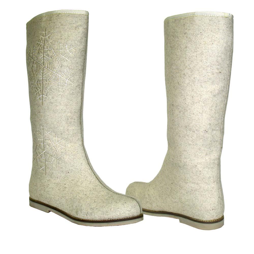 48a641941b42 Валенки белые с вышивкой снежинка высокие - купить в интернет-магазине  Odensya.ru