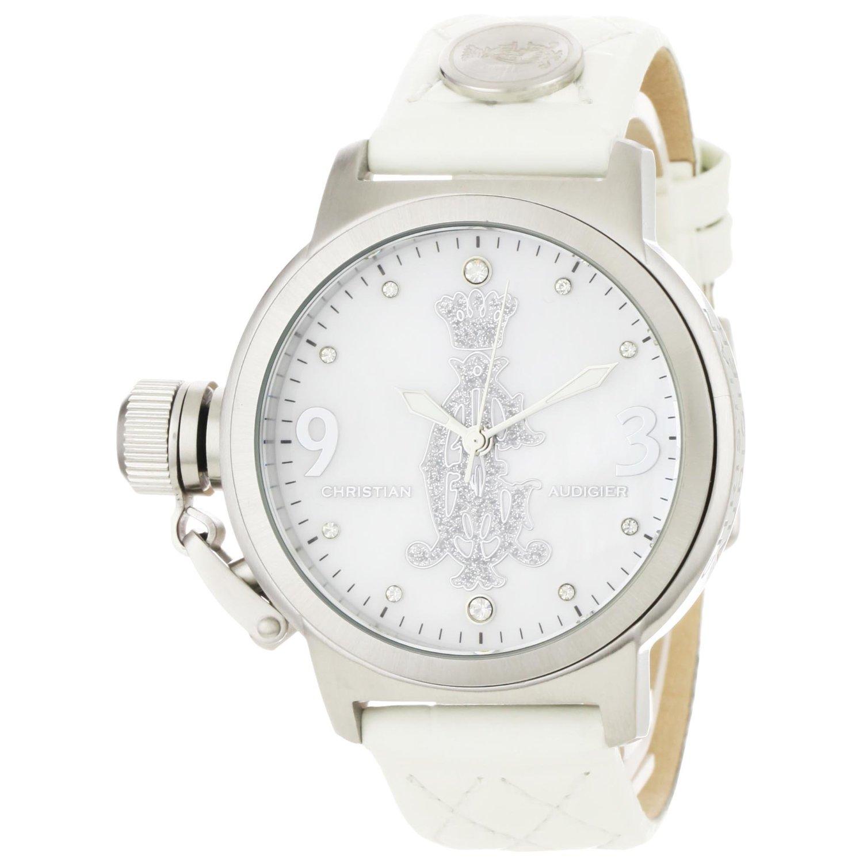 Часы женские на белом ремешке с логотипом Christian Audigier.