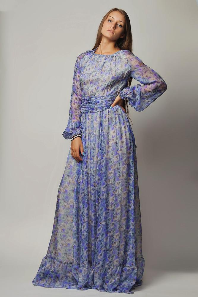 Шифоновые платья с поясом фото