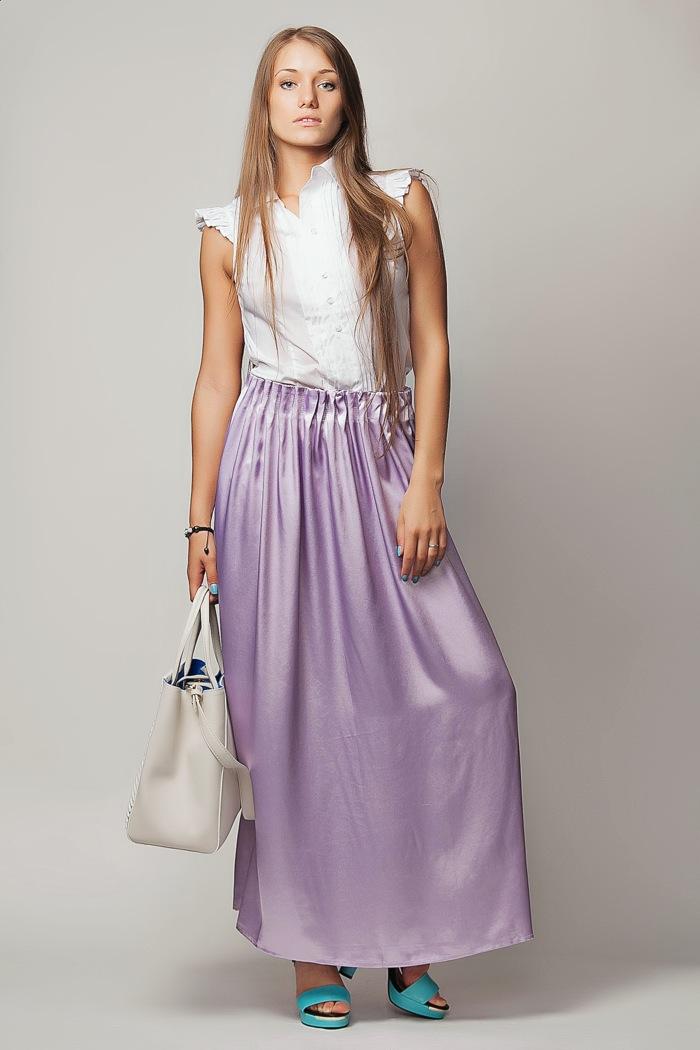74d4fce1461 Длинная светло-сиреневая шелковая юбка на резинке Kenzo в Интернет ...