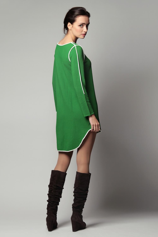 09aca73c547 Зеленое платье необычного кроя с белой отделкой Lanvin в Интернет ...