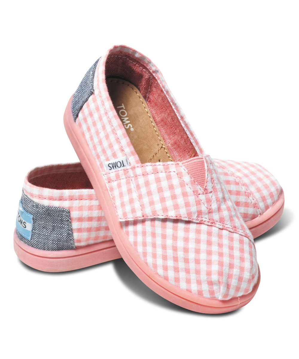 7233f6ac6fcc Слипоны детские Classics Pink Seersucker Canvas Tiny Toms - купить в  интернет-магазине Odensya.