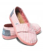Купить Слипоны детские Classics Pink Seersucker Canvas Tiny Toms Toms